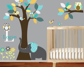 On Sale Owl Tree Wall Decal Chevron Pattern Leaves With Owls Elephant Birds  Large Tree Decal Part 40