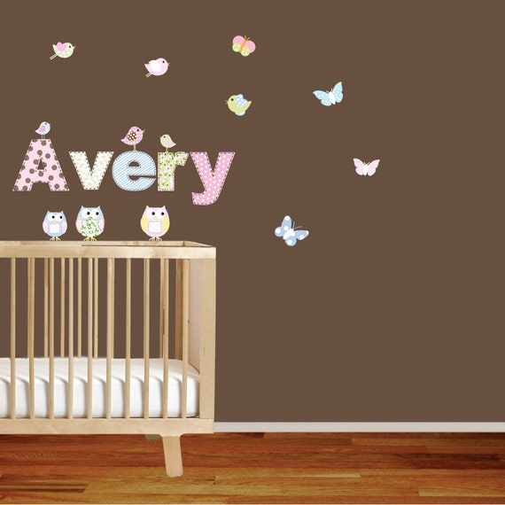 Vinyl Wall Sticker Decal Custom Name Decal Pattern Letters Butterflies Owls