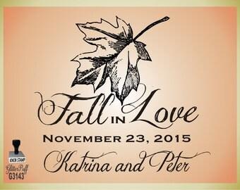 CUSTOM Fall in Love  3 x 3 - Fall Weddings Rubber Stamp DIY Wedding - (g3143) Clear Acrylic Handle