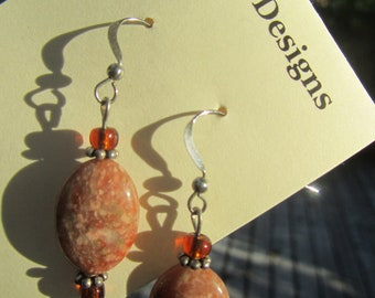Jasper and Sterling Silver Dangle Earrings, Jasper Earrings, Red Jasper Earrings