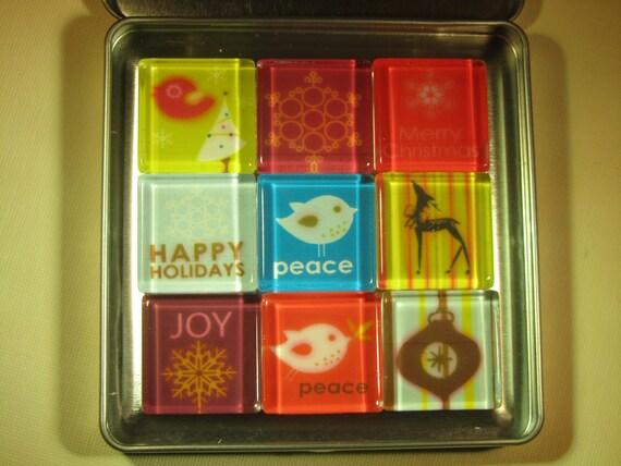 Christmas decorations fridge magnets set of refrigerator