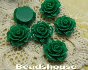 6pcs (20mm) Beautiful Roses Cabochon-Deep Green, (696-00-CA)