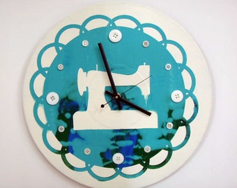 Antique Sewing Machine Wall Clock Tie Dye Buttons  olyteam