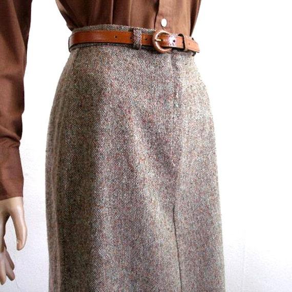 1970s Pencil Skirt / 70s Brown Tweed Curvy Skirt / Wool Blend / S
