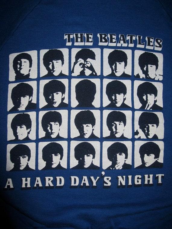 Vintage 1980's the Beatles Hard Days Night Rock 60's Band Sweatshirt size Small