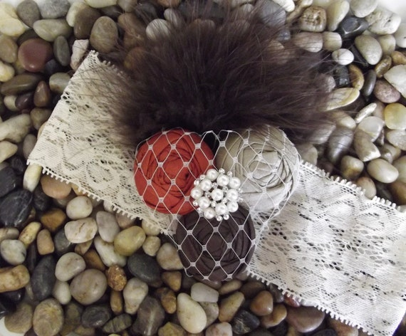 Fall colors flower baby headband - Brown Rust Khaki - veiling and brown feathers headband - Newborn - Infant - Toddler - Girl - Photo Prop