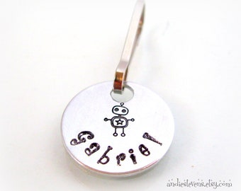 Personalized Zipper Pull - Hand Stamped Charm - Backpack Charm Dangle - Zipper Charm