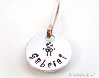 Personalized Zipper Pull - Hand Stamped Charm - Backpack Charm Dangle - Zipper Charm