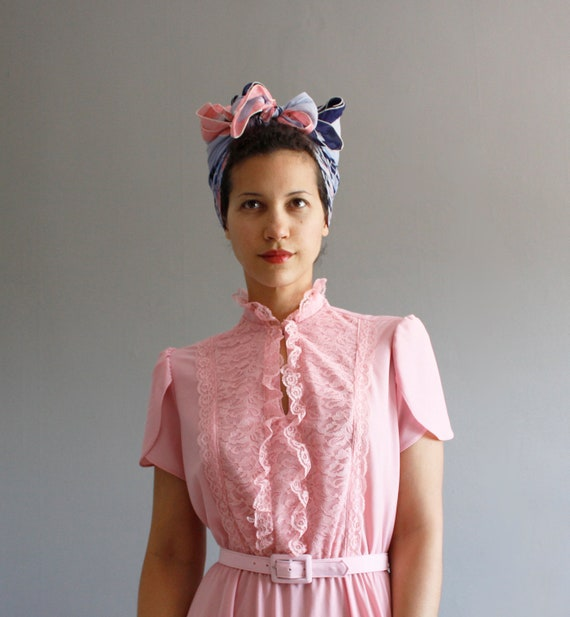 1970's pink lace dress m / l