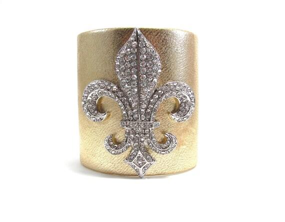 Crystal Fleur de Lis Statement Cuff Bracelet - Gold and Silver Leather - Designer Cuff Jewelry - French Fleur De Lys Accessory