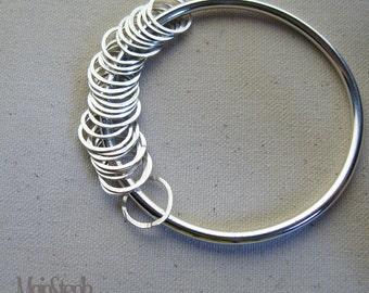 Circles of Life Silver Charm Bangle Handmade