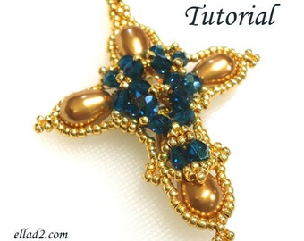 Tutorial Cross Pendant - beading pattern PDF