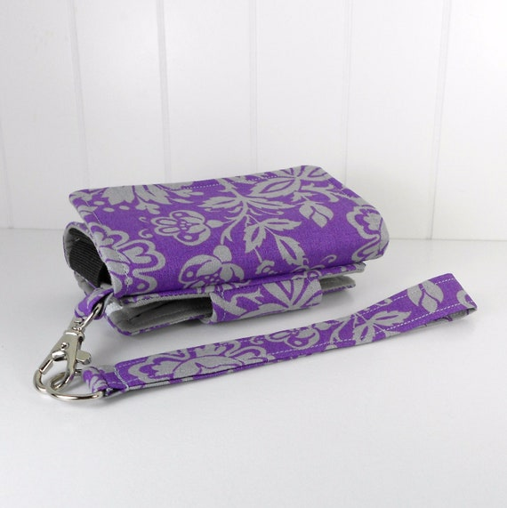 The Errand Runner - Cell Phone Wallet - Wristlet - for iPhone/Android - Purple and Gray Floral/Gray