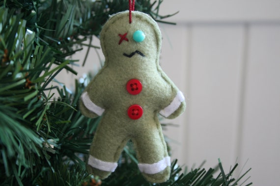 zombie gingerbread man, zombie Christmas ornament, Zombie gingerbread gift, OOAK