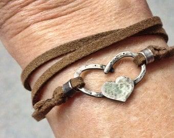 Horseshoe heart leather wrap bracelet
