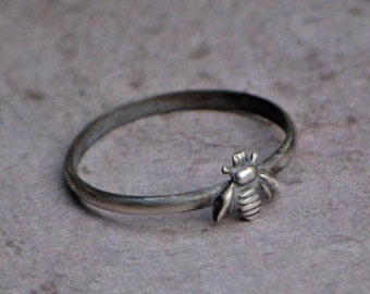 Rustic Bee Ring, Petite Sterling Silver Bee Stacking Ring