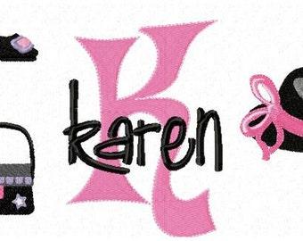 Shoes Purses and Hats Monogram Font Alphabet - Machine Embroidery Designs