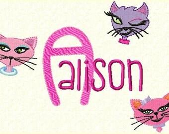 Diva Kitties Monogram Font Alphabet - Machine Embroidery Designs