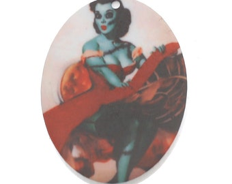B169 Zombie Pin Up :2 Oval Laser Cut Acrylic Pendant // Zombie Charm// Halloween *****STOCK CLEARANCE*****