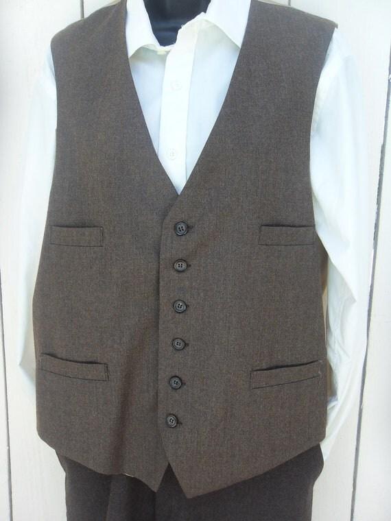 Men's Wool Brown Vest Waistcoat  Medium