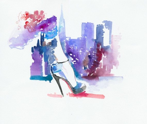 Original Watercolor, Fashion Illustration -  Louboutin in New York