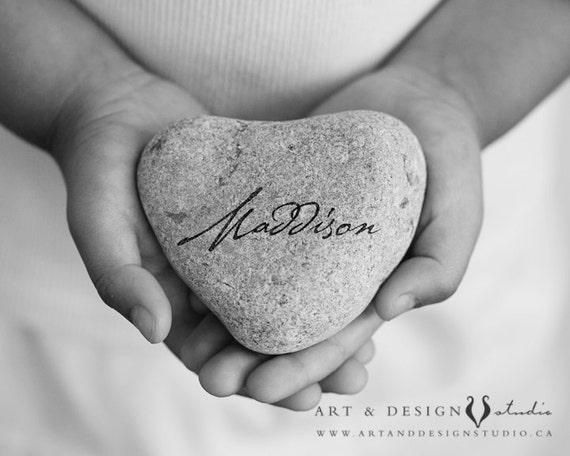 Personalized Name Art: Keepsake Gift for Child or Baby, Christening Gift, Baptism Gift, Heart Stone, Custom Name Print, Blessing Gift