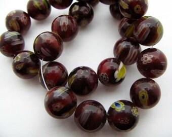 Wine with Yellow Round Millefiori Beads - CG249