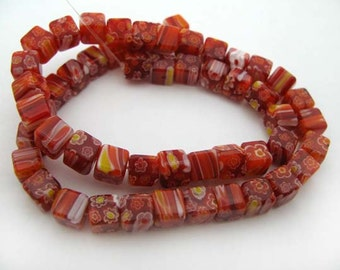 Red with White Cube Millefiori Beads - CG083