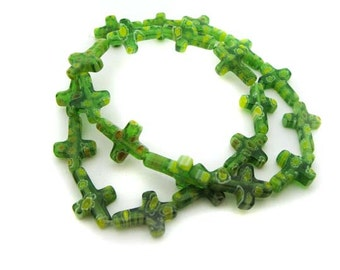Green cross Millefiori Beads - CG136