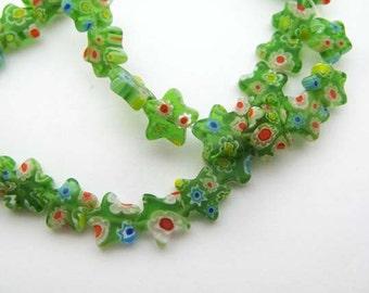 Green star Millefiori Beads - CG253
