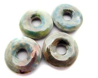 4 Small Raku Donut Beads