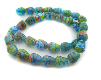 Lt. Blue drop Millefiori Beads - CG127