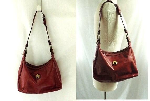1970s Leather bag / vintage Etienne Aigner Leather Shoulder Bag Purse Satchel