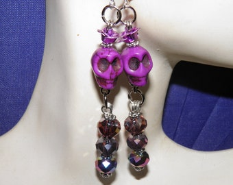 Day of the Dead Earrings, Sterling Silver and Purple Sugar Skull Jewelry, Swarovski Crystals, Goth Day of the Dead Jewelry OOAK