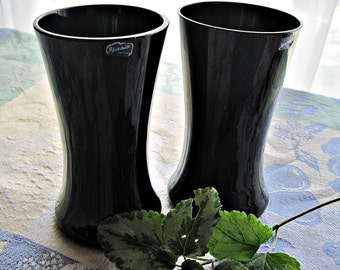 Swedish Art Glass, Bjorkshult, Black vases