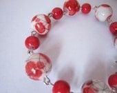 Red Splashes Bracelet Earrings Set