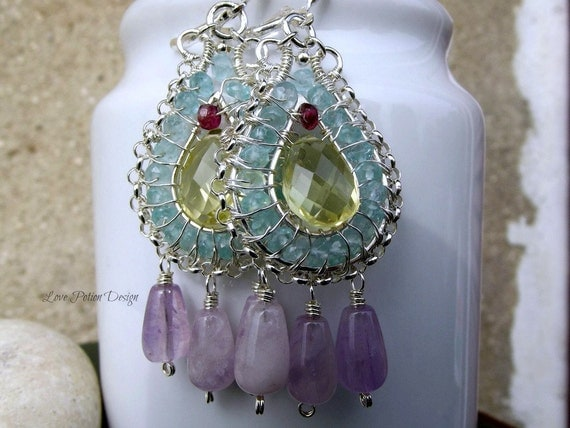 Wire Wrapped Earrings, Lemon Topaz ,Carribean Blue Apatite, Amethyst, Tourmaline In Sterling Silver.