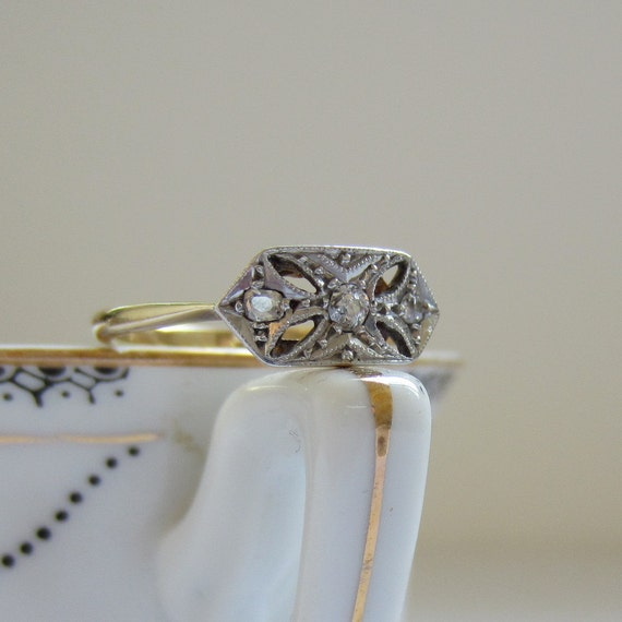 Gorgeous Pierced Ring. Circa 1900s. Diamonds Set in Platinum and Gold. Addy on Etsy.