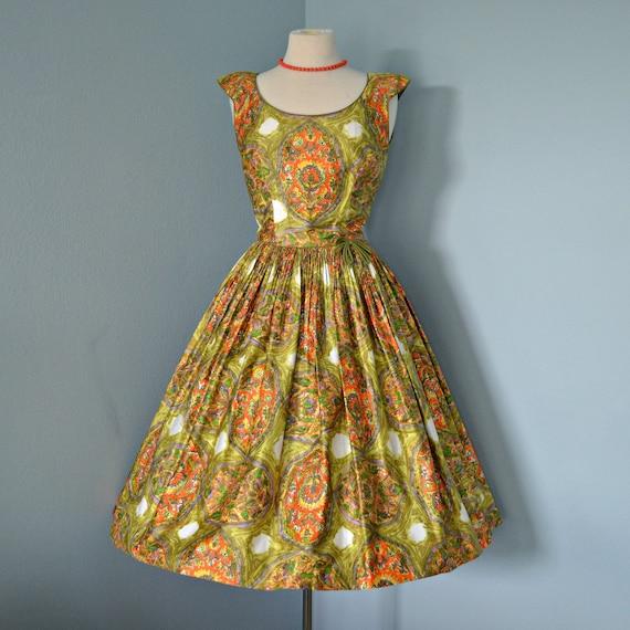 Vintage 1950's Sundress...Gorgeous Retro Print Polished Cotton Sundress