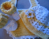 Sunny Yellow Baby Bib, Booties and Beanie Bonnet