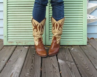 AMAZING vintage Western Gypsy Junkin Leather Ornate Cutout Burnout Boots Cowgirl up Stacked heel