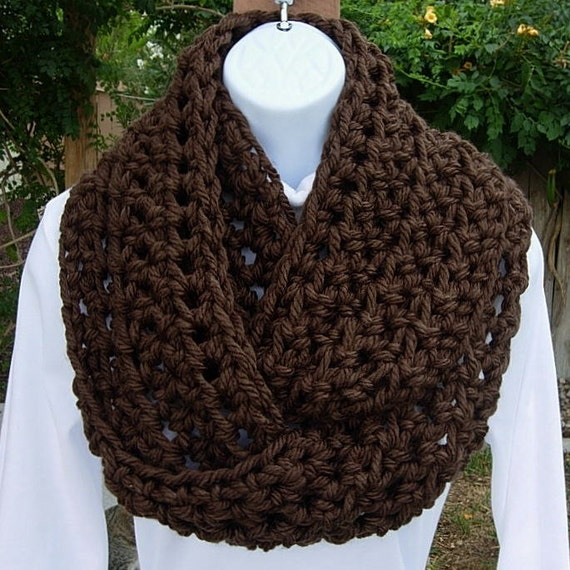 INFINITY LOOP SCARF Dark Solid Espresso Brown..100% Super-Soft Bulky Acrylic..Thick Crochet Knit Winter Cowl..Ready to Ship in 3 Days