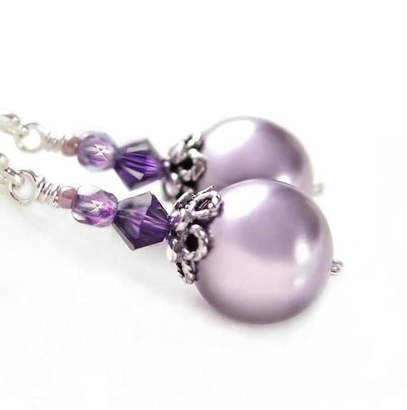 Lavender pearl earrings : Lavender pearl earrings sterling silver swarovski amethyst