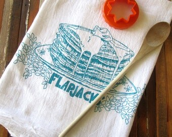 Tea Towel - Screen Printed Flour Sack Towel - Soft and Absorbent Kitchen Towel - Pancakes - Eco Friendly Cotton - Classic Flour Sack