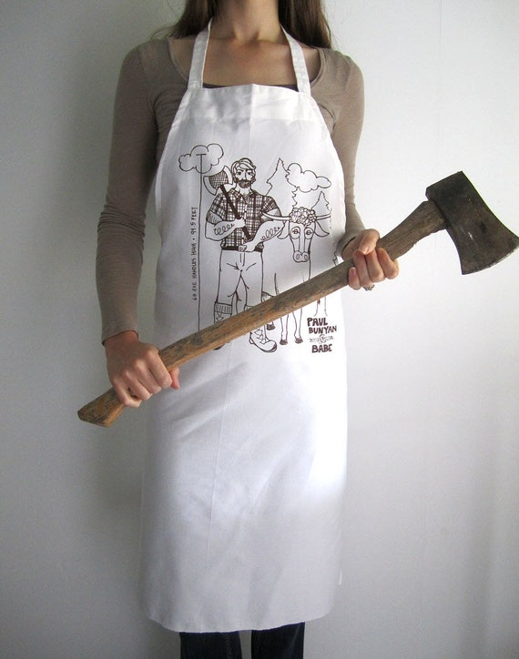Screen Printed Full Apron - Natural Cotton Twill - Paul Bunyan and Babe Illustration - Eco Friendly Apron- Super Awesome Kitchen Apron
