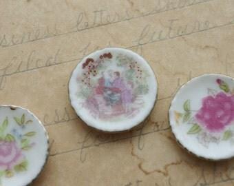 3 Tiny Ceramic  Plates