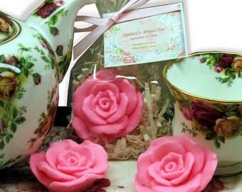 Set of 10 Shabby Chic Rose Soap Favors Bridal Shower Baby Shower Wedding Birthday Bachelorette Party Bridal Shower Party Favors