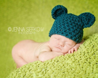 Handmade Newborn Teddy Bear Hat in Teal Blue