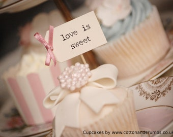 love is sweet Party Picks - ivory with dusky pink bows - set of 10