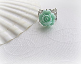 Shabby Chic Mint Rose on Silver Filigree ring